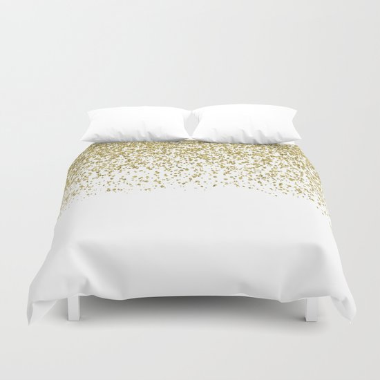 Sparkling Gold Glitter Confetti On Simple White Background