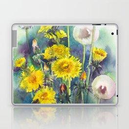 Watercolor dandelion flowers illustration Laptop & iPad Skin