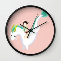 spirited away Wall Clocks featuring Spirited Away by Mayying