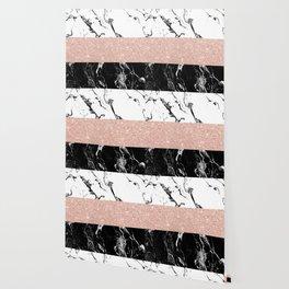 Modern black white marble rose gold color block stripes pattern Wallpaper
