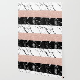 Modern black white marble rose gold color block stripes pattern Wallpaper