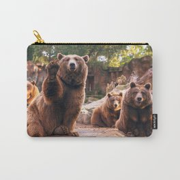 Spectecular Group Gracious Grizzly Bears Sitting In Habitat Waving At Camera Ultra HD Carry-All Pouch