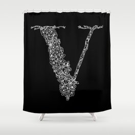 Cherry Blossom V Black Shower Curtain