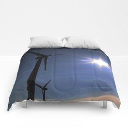 Windfarm and Blue Sky Comforters