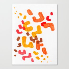 Minimalist Abstract Mid Century Modern Colorful Organic Patterns Red Orange Brown Canvas Print