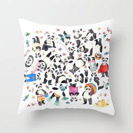 Panda mess Throw Pillow