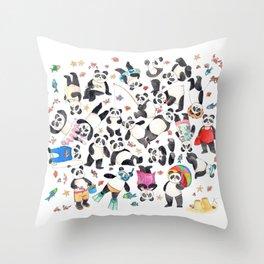 Panda mess Throw Pillow