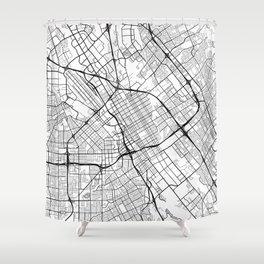 San Jose Map, USA - Black and White Shower Curtain
