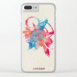 London, United Kingdom Colorful Skyround / Skyline Watercolor Painting Clear iPhone Case