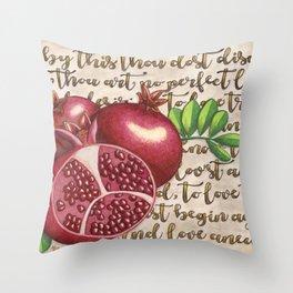 Pomegranate, Love Anew, Persephone, fruit art, love poem, food art, rebirth, fertility goddess Throw Pillow