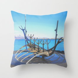 Iceland iconic sea-front dream boat sculpture Throw Pillow