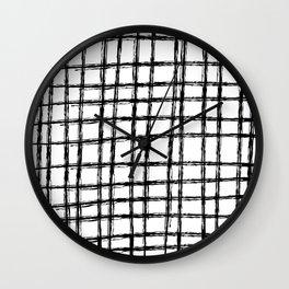 Grid Pattern, Black & White Hand Drawn, Scandinavian Design Wall Clock