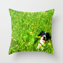 Dog in the Field Throw Pillow