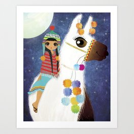 LLAMA AND GIRL Art Print
