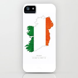 Ireland Coordinates Country Flag Silhouette iPhone Case