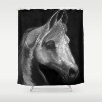 arab Shower Curtains featuring Arab horse portrait by Mindgoop