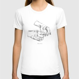 BLACK AND WHITE HANDS WITH PLASTERS T-shirt