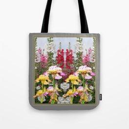 YELLOW  & GREY IRIS HOLLYHOCK FLOWER GARDEN DESIGN Tote Bag