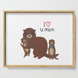I Love You Mom. Funny brown kids otters with fish on white background. Gift card for Mothers Day. Serving Tray