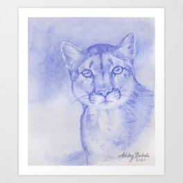 Blue Mountain Lion Watercolor Art Print