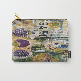 Mixed Media Art. Numbers, Circles & Words. Purpose Art. Deep Plum, Yellow, Greens and Blues Carry-All Pouch