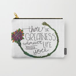 Floral Motivational Carry-All Pouch