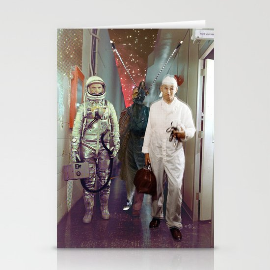 Space Check Collage Stationery Cards