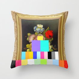 A Painting of Flowers With Color Bars Throw Pillow