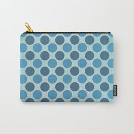 Vintage blue circles retro pattern Carry-All Pouch