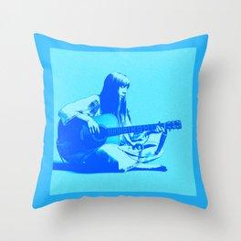 Blue Songbird Joni Mitchell Throw Pillow