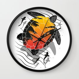 Red sun floating turtle Wall Clock