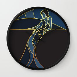 Art Deco Woman in Navy Blue #1 Wall Clock