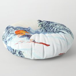 Skiing The Clear Leader Floor Pillow