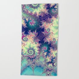 Violet Teal Sea Shells, Abstract Underwater Forest  Beach Towel