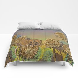 Harvest Mouse and Teasels Comforters
