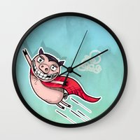 superhero Wall Clocks featuring Superhero by Aleksandra Jevtovic