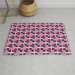 Mix of flag: usa and dominican republic Rug