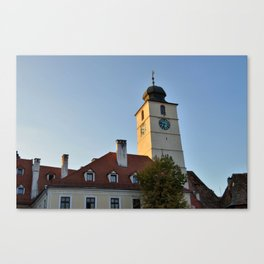 The Sibiu council Tower Early In the Morning Canvas Print