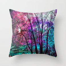 Purple teal forest Throw Pillow
