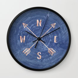 Rosegold and Blue Compass Wall Clock