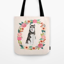 alaskan malamute floral wreath dog gifts pet portraits Tote Bag