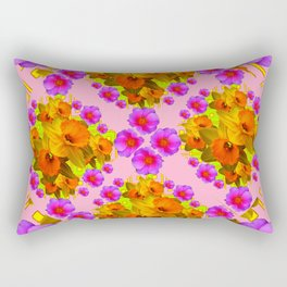 Pink Coral Cerise Roses & Daffodils Floral Rectangular Pillow