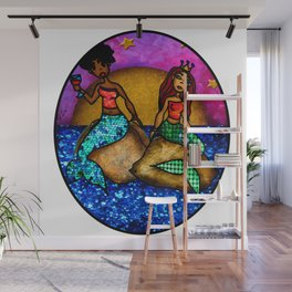 2 Mermaids drinking Wine Wall Mural