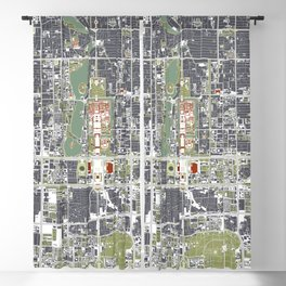 Beijing city map engraving Blackout Curtain