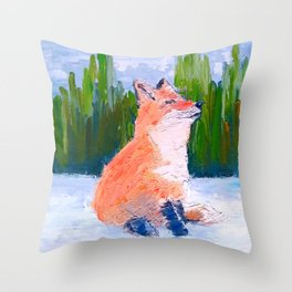 Smiling fox, oil impressionist painting Throw Pillow