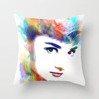 audrey hepburn Throw Pillows featuring Audrey Hepburn by Michael Akers