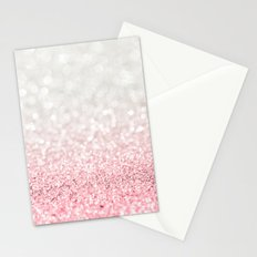 Pink Ombre Glitter Stationery Cards
