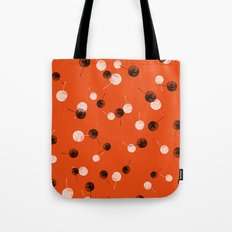 Small Leaves over orange background Tote Bag