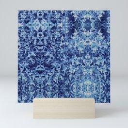 pastel blue ocean plant abstract pattern Mini Art Print