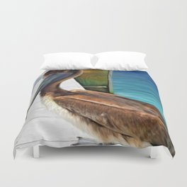 Dockside Pelican by Barbara Chichester Paintographer Duvet Cover